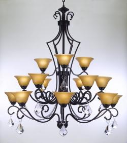 Austrian Crystal TRIMMED CHANDELIER! WROUGHT IRON CHANDELIER WITH CRYSTAL