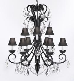 Swarovski Crystal Trimmed Wrought Iron Chandelier Lighting 30in Tall