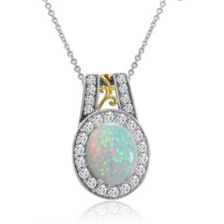 Created Opal and White Sapphire Pendant set in Sterling Silver