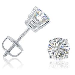 Amanda Rose Collection 1ct tw IGI Certified Diamond Stud Earrings in 14K White Gold with Screw Backs