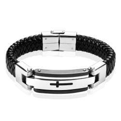 Steel Leather Bracelet with Black Cross
