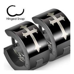 Stainless Steel Black Hinged Wide Hoop Earrings with Gothic Medieval Cross Print