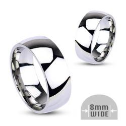 Stainless Steel 8mm Wide Glossy Mirror Polished Wedding Band Ring