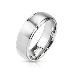Mirror Polished Edges and Brushed Metal Center Dome Two Tone Band Stainless Steel Ring