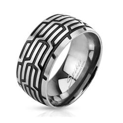 Grooved Tire Mark Band Stainless Steel Ring