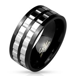 Two Tone Grooved 2-Part Spinner Gears Black IP Stainless Steel Ring