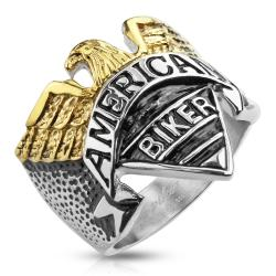 """Eagle with """"American Biker"""" Engraving Stainless Steel Cast Ring"""