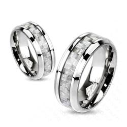 Silver Carbon Fiber Inlay Center Band Ring Solid Titanium