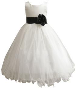 Wedding Easter Flower Girl Dress Paperio Ivory Rattail Satin Tulle (Baby - 14) Black