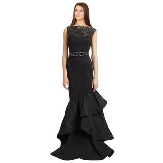 Teri Jon Black Lace Taffeta Jewel Belt Trumpet Evening Gown