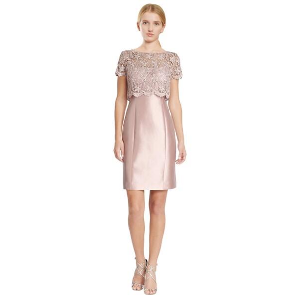 Teri Jon Pink Lace Gazaar Slip Sheath Cocktail Dress