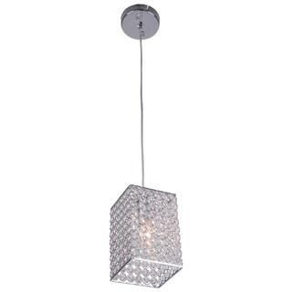 Joshua Marshal Home Collection 1 Light Chrome Square Mini Pendant with Clear European Crystals