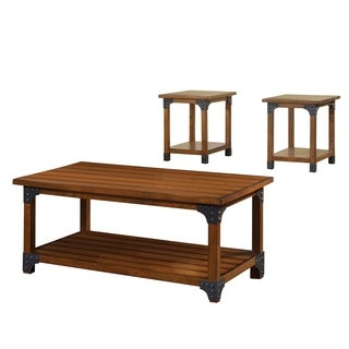 Furniture of America Strait Antique Oak 3-Piece Accent Table Set