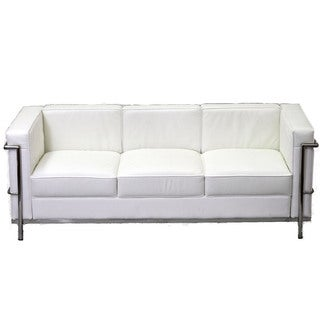 Charles Petite Leather Sofa in White