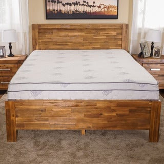 Christopher Knight Home Montero Wood Bed Frame with Aloe Gel Queen Mattress
