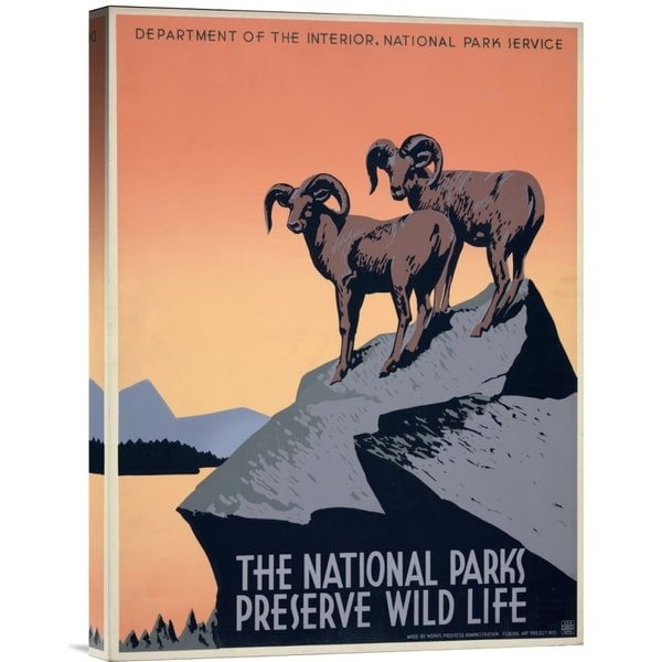 J. Hirt 'The National Parks Preserve Wild Life, ca. 1936-1939' Stretched Canvas Art