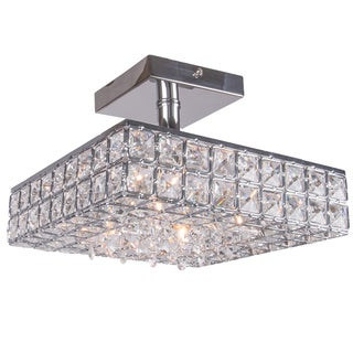 Joshua Marshal 7024-001 4-light Crystal Square Box Flush Mount with Clear European Crystals