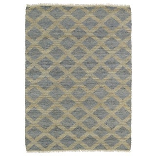 Handmade Natural Fiber Cayon Slate Lattice Rug (7'6 x 9')