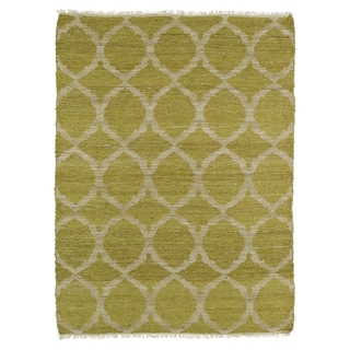 Handmade Natural Fiber Cayon Wasabi Lattice Rug (8' x 11')