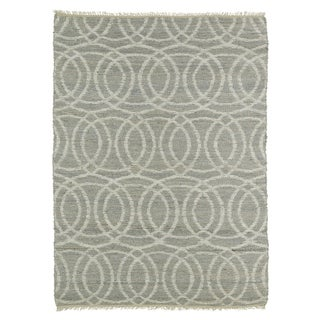 Handmade Natural Fiber Canyon Grey Circles Rug (8' x 11')