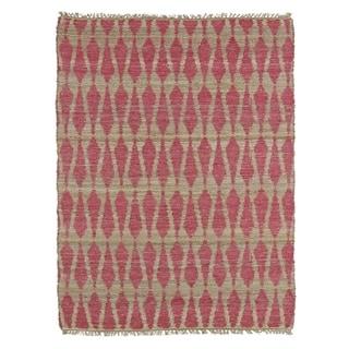 Handmade Natural Fiber Cayon Pink Rug (7'6 x 9')