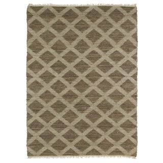 Handmade Natural Fiber Cayon Chocolate Lattice Rug (8' x 11')