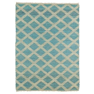 Handmade Natural Fiber Cayon Teal Lattice Rug (7'6 x 9')