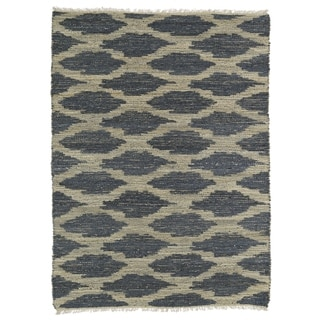 Handmade Natural Fiber Canyon Denim Lattice Rug (8' x 11')