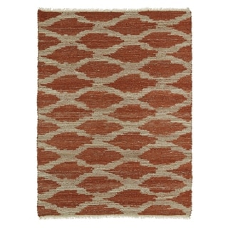 Handmade Natural Fiber Canyon Paprika Lattice Rug (8' x 11')