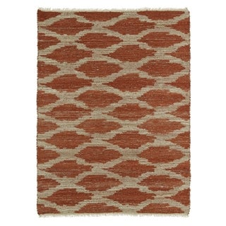 Handmade Natural Fiber Cayon Paprika Lattice Rug (7'6 x 9')
