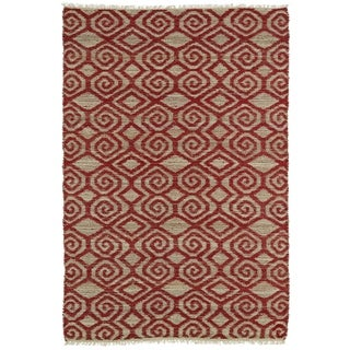 Handmade Natural Fiber Cayon Red Diamonds Rug (7'6 x 9')