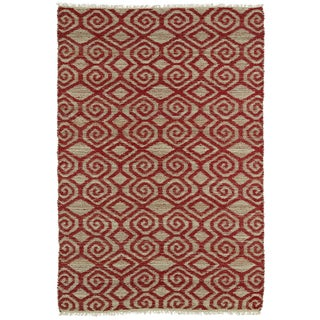 Handmade Natural Fiber Canyon Red Diamonds Rug (8' x 11')