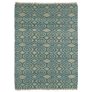 Handmade Natural Fiber Canyon Teal Diamonds Rug (8' x 11')