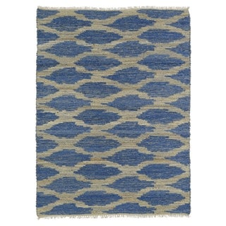 Handmade Natural Fiber Cayon Navy Lattice Rug (8' x 11')