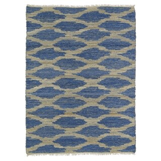 Handmade Natural Fiber Cayon Navy Lattice Rug (3'6 x 5'6)