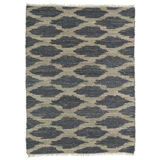 Handmade Natural Fiber Cayon Denim Lattice Rug (7'6 x 9')
