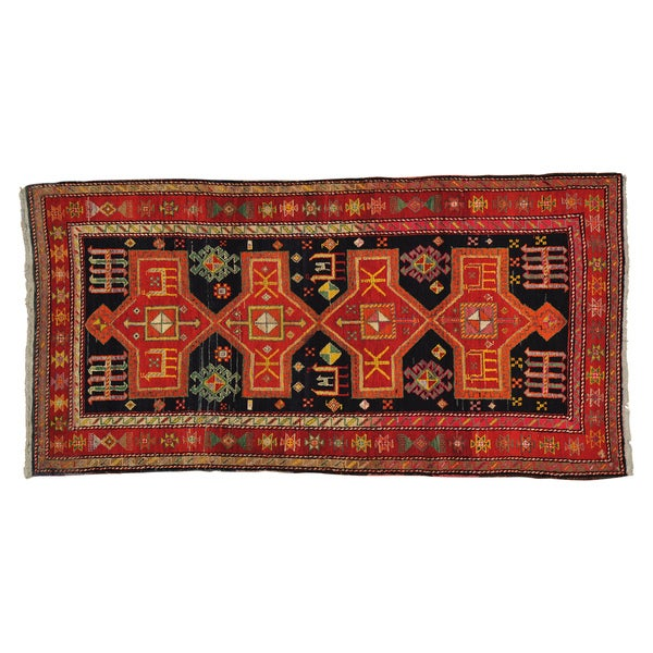 Gallery Size Handmade Oriental Old Persian Hamadan Area Rug (4'3 x 8'7)