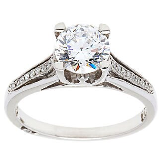 Tacori 18k White Gold Accent Diamond Engagement Ring with Cubic Zirconia Center Stone