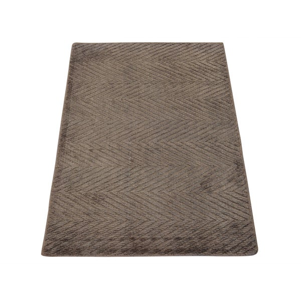 Hand-loomed Zig Zag Modern Beige Bamboo Silk Rug (2'1 x 3')