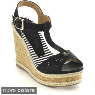 De Blossom Collection 'Julie-9' Women's Perforated Platform Ankle Strap Wedges