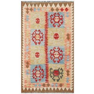 Herat Oriental Afghan Hand-woven Tribal Kilim Beige/ Red Wool Rug (3'1 x 5'3)