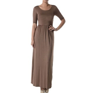 Tabeez Women's Round Neck 3/4 Sleeve Maxi Dress