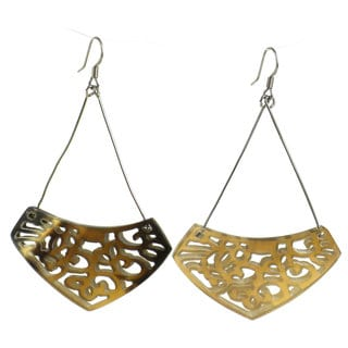Faire Collection Simone Lace Earrings in Natural Bullhorn (Cambodia)