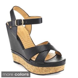 De Blossom Collection 'Betty-5' Women's Criss-cross Plaform Ankle Strap Wedges
