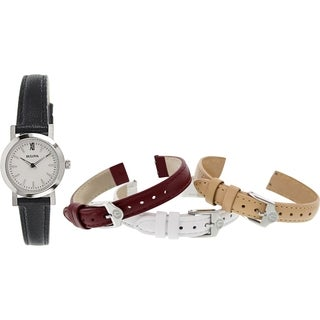 Bulova Women's 96X127 Black Leather Quartz Watch