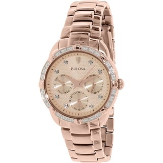 Bulova Women's Diamond 98R178 Rose Goldtone Stainless Steel Quartz Watch