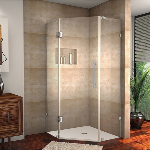 Aston Neoscape 34-in x 34-in 72-in Completely Frameless Neo-Angle Shower Enclosure in Chrome