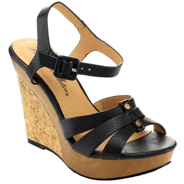 De Blossom Collection 'Beach-127' Women's Platform Ankle Strap Wedges
