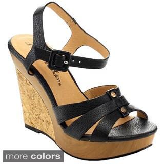 De Blossom Collection 'Beach-127' Women's Platform Ankle Strap Wedges