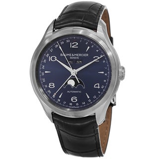 Baume & Mercier Men's MOA10057 'Clifton' Blue Dial Black Leather Strap Moon phase Automatic Watch